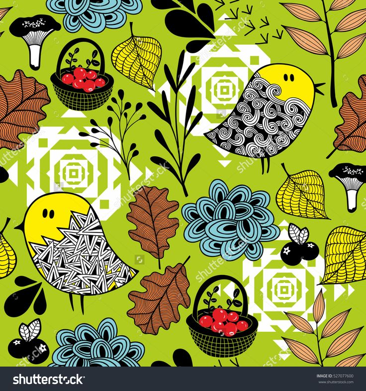 Seamless background of doodle birds and nature elements. Vector endless illustration of forest wild life.