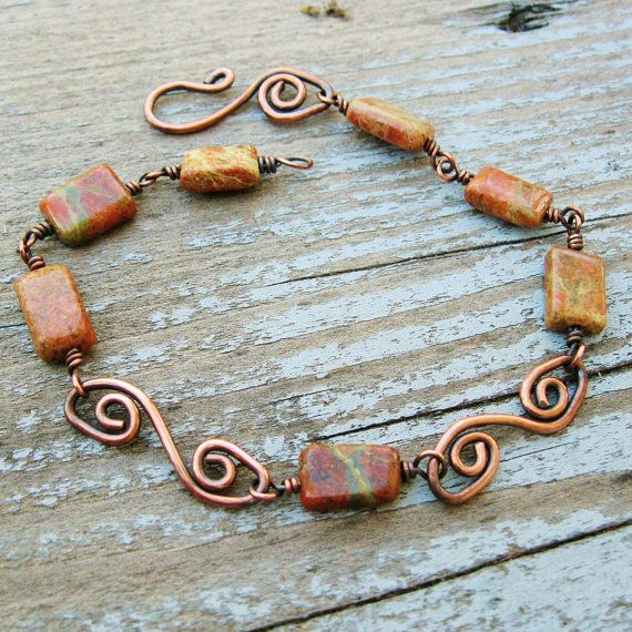 Unakite and Antiqued Copper wire wrap and by BearRunOriginals, $18.00