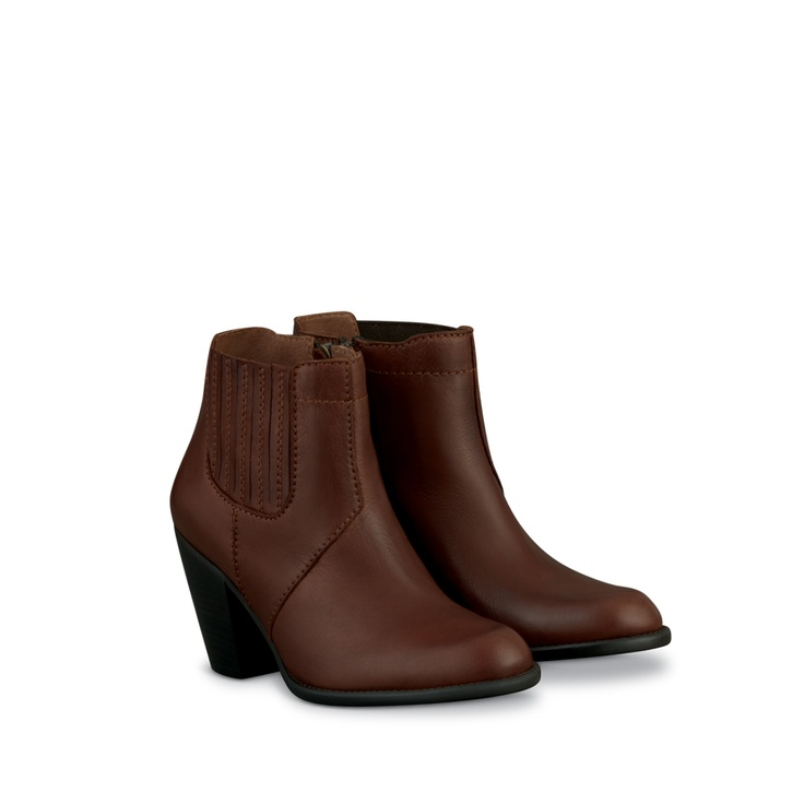Cole Brown Leather Ladies Ankle Boots | DUO