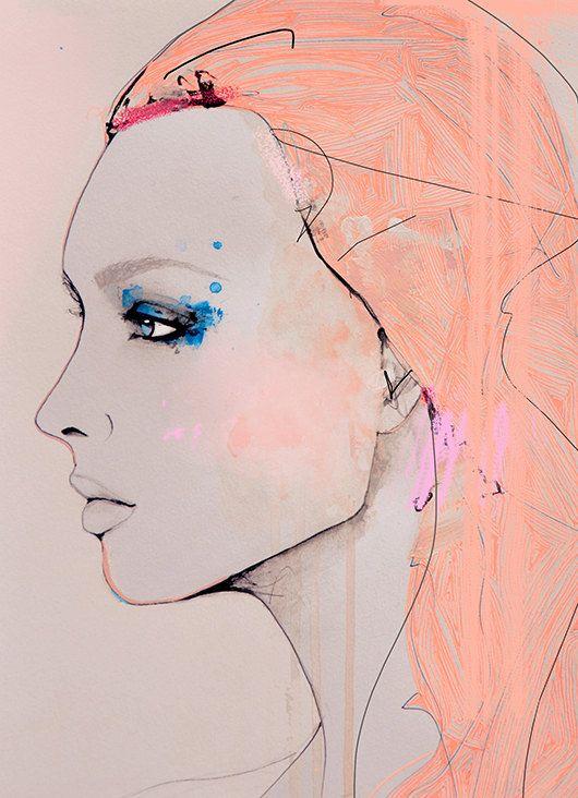 Fragmentary Fashion Illustration Art Print by LeighViner on Etsy, $28.00