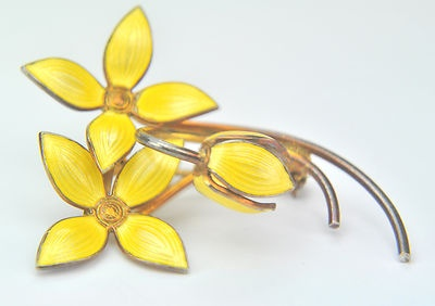 Ivar Holth Holt Norway Silver Yellow Enamel Flower Tulip Earring Pin Set | eBay