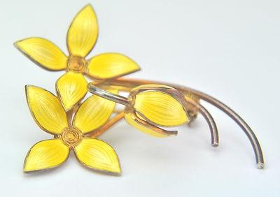 Ivar Holth Holt Norway Silver Yellow Enamel Flower Tulip Earring Pin Set | eBay