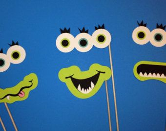 Monster Photo Booth Props - 6 Piece Photo Booth Prop Set- Alien / Monster Photo Booth