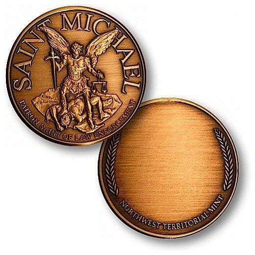 Saint Michael - Engravable Bronze Antique Coin