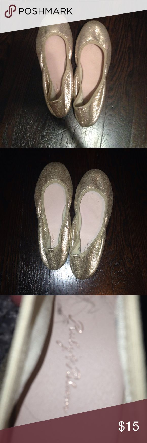 Gold kids shoes Sparkles dont come off. Very fine sparkles. Stretchy meterial. ONLY WORN ONCE GREAT CONDITION. Got them at Nordstrom. Please offer any price if you don't like list price ruby & bloom Shoes Dress Shoes