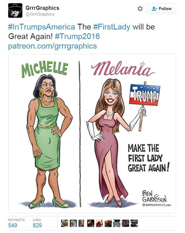 A cartoonist has been accused of racism after he portrayed Michelle Obama as masculine and butch next to a pageant-ready Melania Trump in a controversial drawing. Controversial? Looks like reality to me. Guess that, as always, Libtards don't like the truth pointed out. Better get into those safe spaces libtards, there's a lot more like this coming your way .....