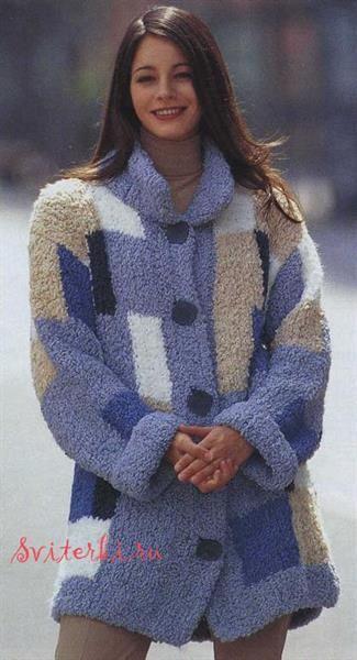 Вязание пальто пряжа букле схема