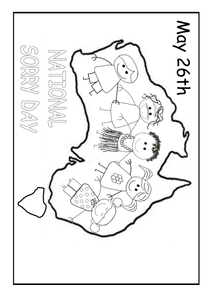 National Sorry Day Australia. Colouring printable.