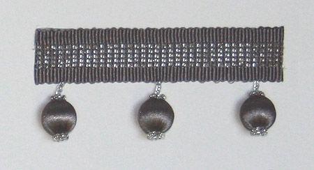 Satin Beaded Braid A braid and bobble trimming in mole with a stripe of silver beads.