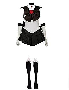 geinspireerd door Sailor Moon Sailor Pluto Anime Cosplaykostuums Cosplay Kostuums Patchwork MouwloosKleding Handschoenen Ketting Boog – EUR € 99.90