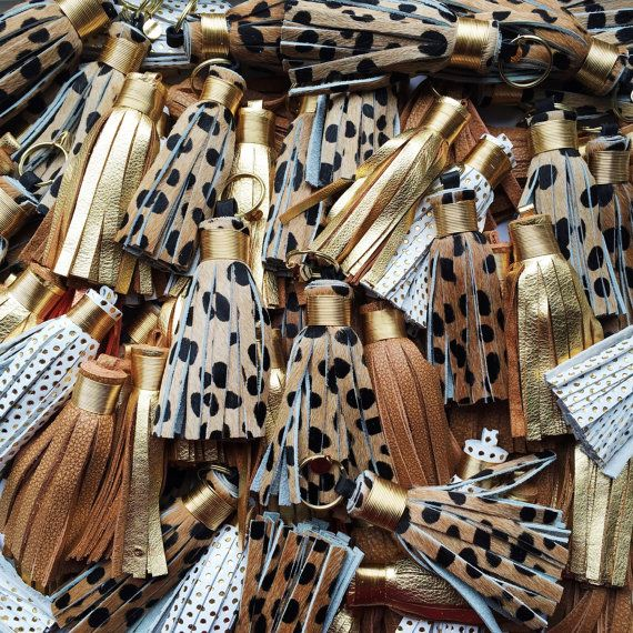 Leather Tassel Keychains Cheetah Leopard Gold by The Providence Story