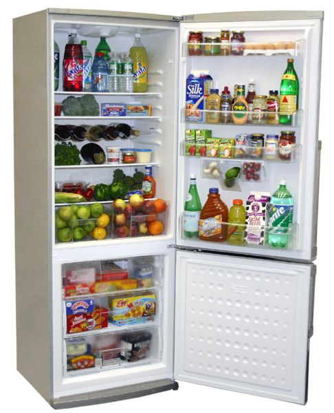 "24"" wide Energy Star rated energy efficient refrigerators with freezer on bottom"