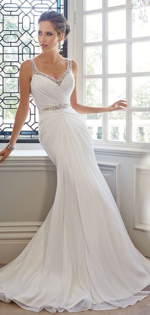 Straps Trumpet Chiffon V Back Lace Chapel Train Beach Wedding Dress