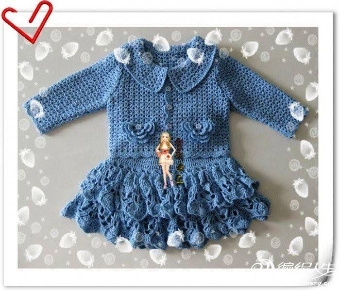 Mavi Renkli Kız Çocuğu Örgü Takım-1