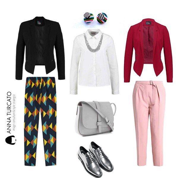 #Glam #suit for a #chic #lady Le gambe sono il tuo punto forte e vorresti un modo alternativo per personalizzare il classico completo da lavoro?  Opta per pantaloni stampati o colorati da abbinare alla giacca infiancata che aiuta a suggerire il punto vita.  Quale di queste sue opzioni ti piace di più? In entrambi i casi base la camicia bianca e a completare questo #unlookalgiorno accessori luminosi. #personalshopper #personalstylist #stylecoach #stylist #style #fashionstyle #stylist…