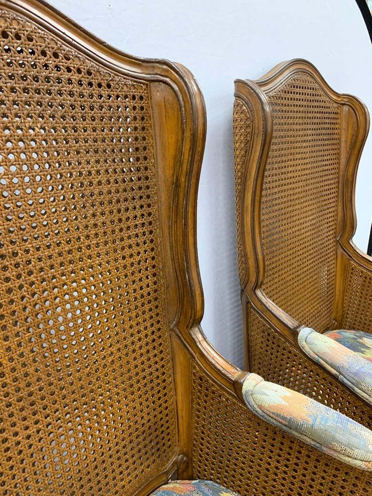 Pair of Vintage French Cane Wing Back Chairs in 2020