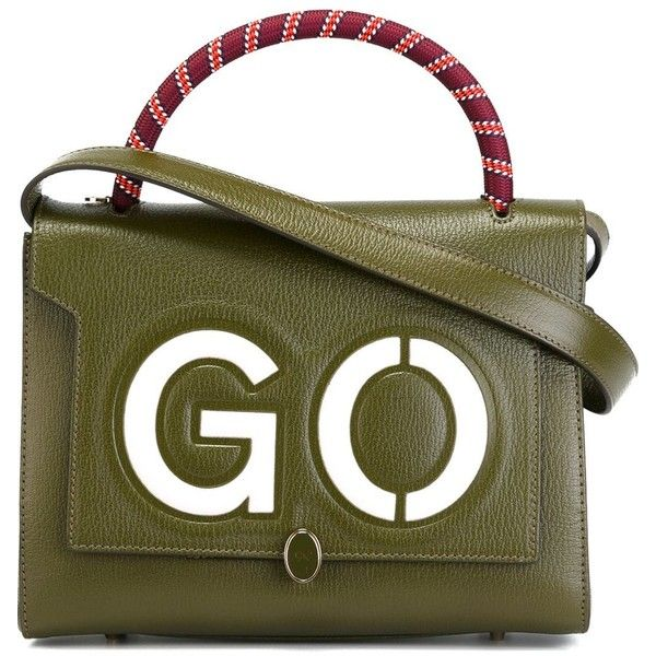 Anya Hindmarch Small Go Bathurst Tote featuring polyvore, women's fashion, bags, handbags, tote bags, taschen, green, green tote handbag, green tote, handbags tote bags, green purse and green handbags