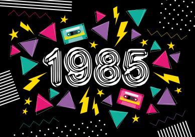 In 2018 werden Sie 33 Jahre alt? Coole Geburtstagseinladung in typischem 80er Jahre Look in grellen Farben und Zahl 1985. Wir haben auch eine 1984 für Leute, die noch in 2017 feiern. #einladunggeburtstag.de