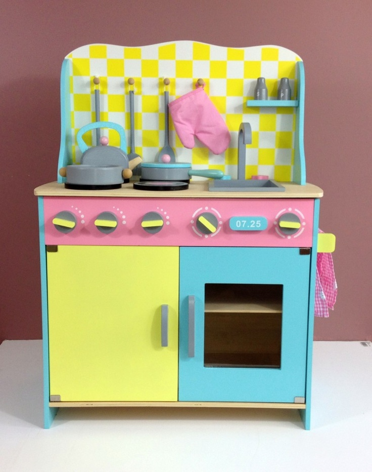 Wooden pretend kitchen - girly, but not offensively so.