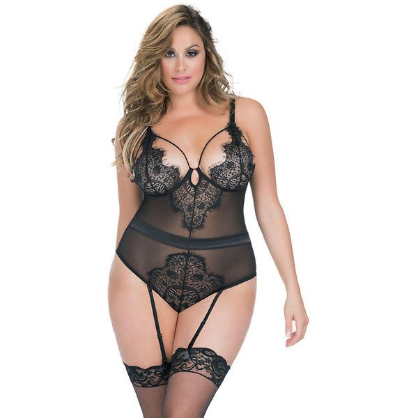 Oh La La Cheri Eyelash Garter Teddy Plus Size ($58) ❤ liked on Polyvore…