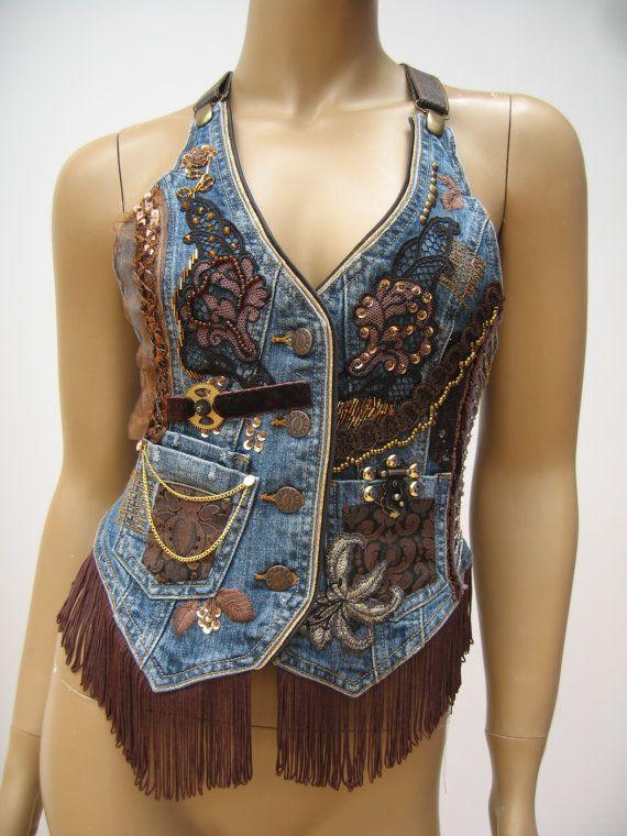Jeans dekoriert, Weste, Steampunk Kleidung, Hand bestickt, Fringe-Weste