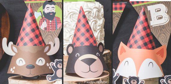 Woodland Plaid Lumberjack Party hats printable by KudzuMonster