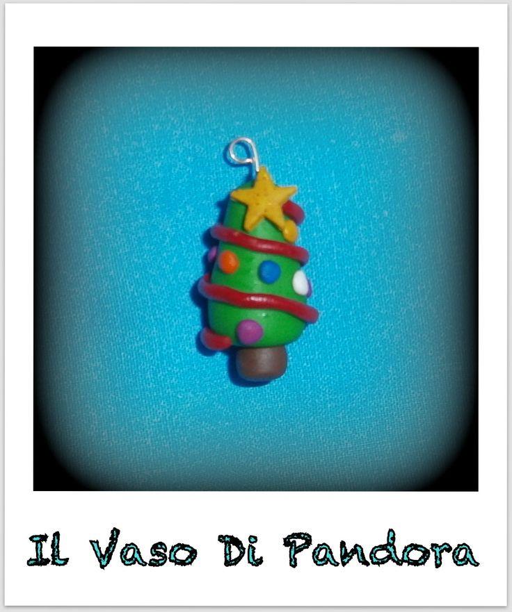 Fimo, Albero di Natale, disponibile come orecchini, collana, decorazione natalizia