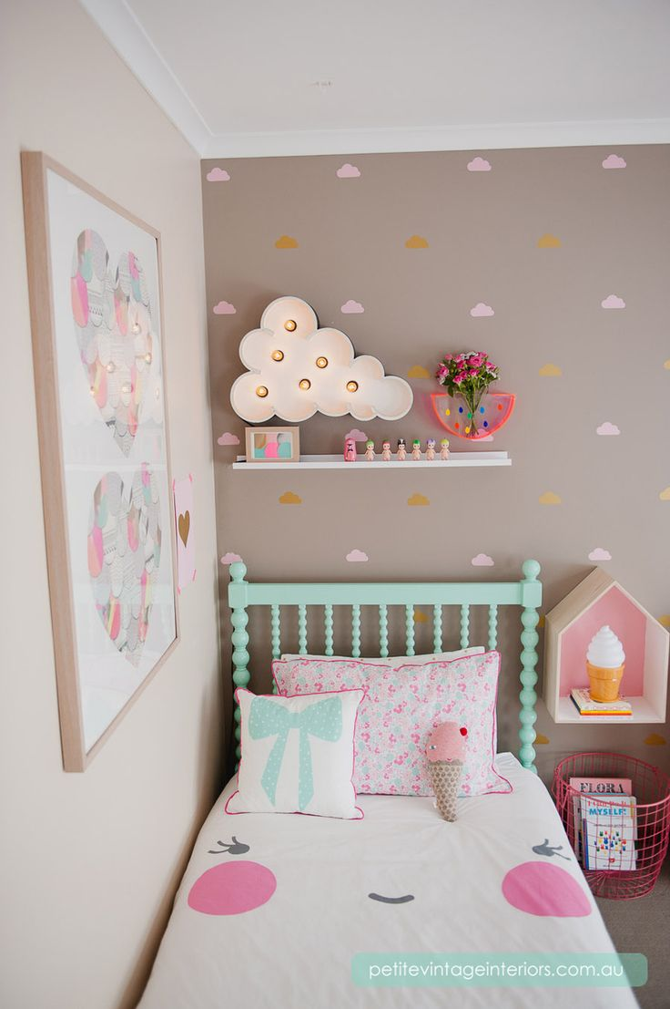 (http://www.uwdecals.com/products/little-clouds-3-inches.html)   cute for one wall of her bedroom!