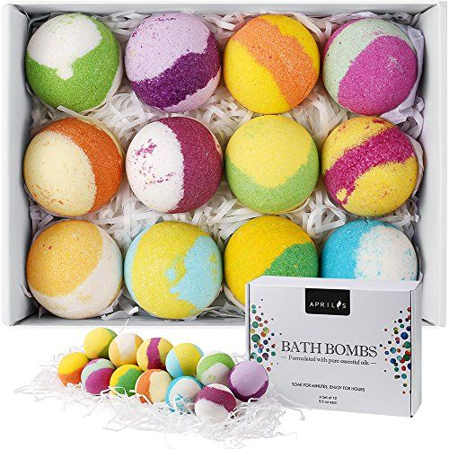 Bath Bombs Gift Set Multi-Colored Vegan Bath Bomb Kit for Kids & Teens with Organic Essential Oils Exclusive Floating Fizzies with Rich Bubbles Valentines Day Gift - Pack of 12
