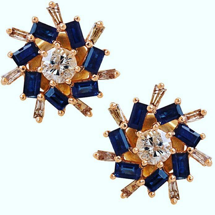 Diamond Solitaire Studs with Sapphire and Diamond Baguettes  #designerjewelry #jewelleryaddict #jaxemrata #jewelryaddict #jewelrymaking #jewelry #italianjewellery #ijl #londonjewellery #dubaijewellery #jckshow #bestselling #hotselling #hot #coolstuff #diamondstuds #solitaire #taylorswift #danbilzerian #selenagomez #kimkardashian #beyonce #beach #bikini #couturecollection #coutureshow #jcklasvegas #miamibeach @instagram #interior #interiordesign