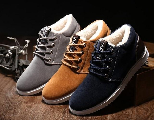 Cheapest Price $13.40, Buy Ankle boots for men boots waterproof 2017 short plush warm shoes cheap flat with snow boots suede 39-44 winter boots
