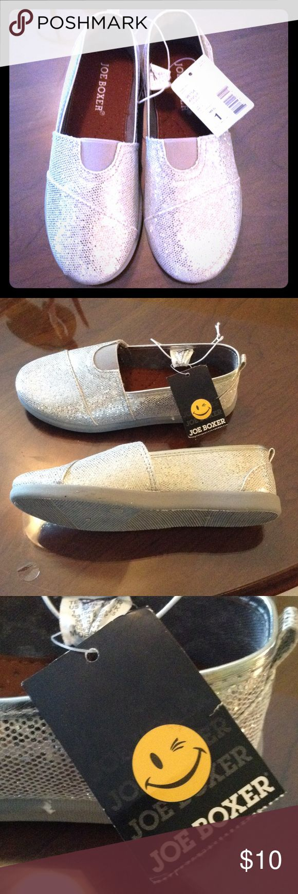 Does your little girl like sparkle? NWT Little girls size 1 Joe Boxer slip on shoes. Never worn, rubber soled shoes. Joe Boxer Shoes Sneakers