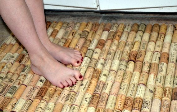 Bath Rug Made with Wine Corks // Kitchen Sink by Intrepidillusions