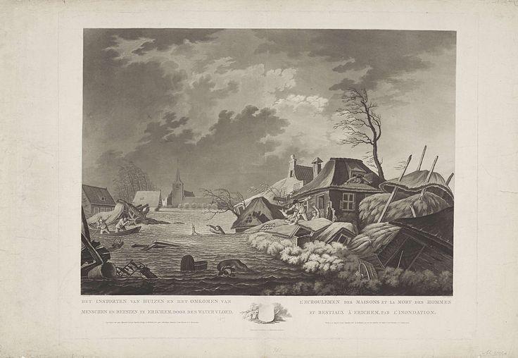 Het Instorten van Huizen en het Omkomen van Menschen en Beesten te Erichem, door den Watervloed / L'Ecroulemen des Maisons et la Mort des Hommes (...), A. Lutz, 1809
