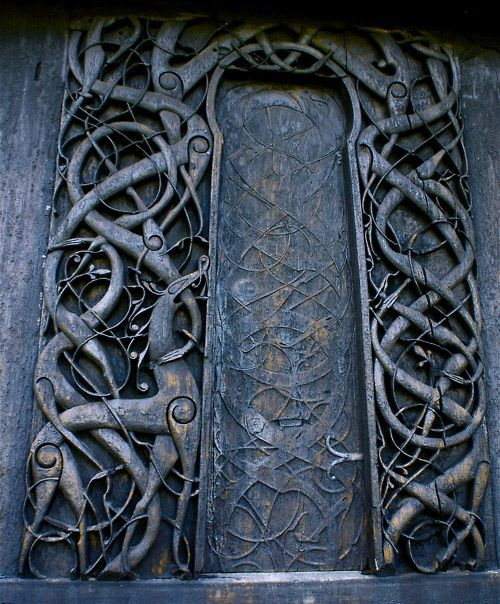 Nordic Door, carved showing Yggdrasil, the Tree of Life from Norse mythology.