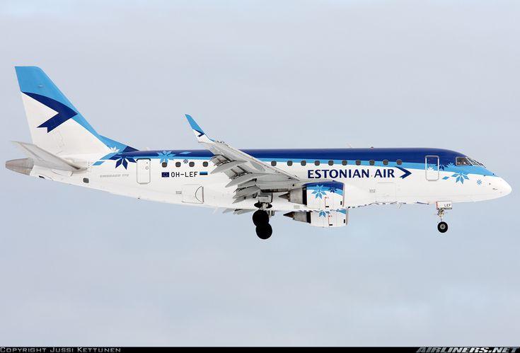 Embraer ERJ-170-100LR 170LR Estonian Air OH-LEF. Typical ER shape, a beautiful plane and a nice livery. Helsinki-Vantaa HEL/EFHK.