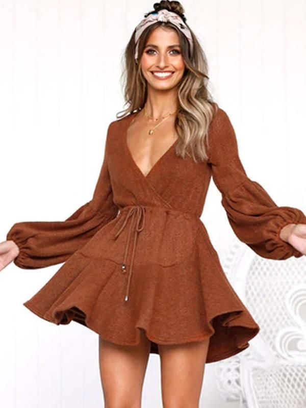 f31fed05043 Deep V-neck Bandage Puff Sleeves Mini Dress – chicbohodress