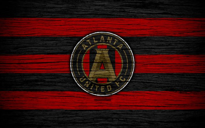 Download wallpapers Atlanta United, 4k, MLS, wooden texture, Eastern Conference, football club, USA, Atlanta United FC, soccer, logo, FC Atlanta United