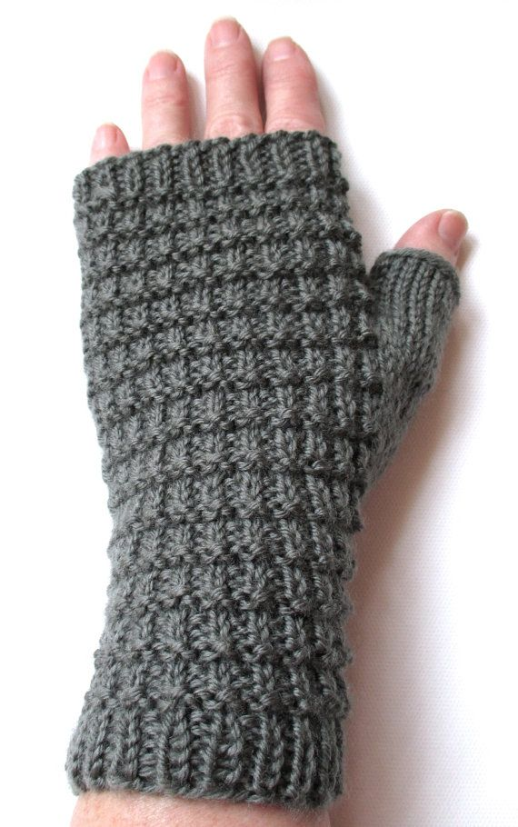 Hand Knit Fingerless Gloves for Women, Teen Girls, Texting Gloves, Ladies Gloves, gray, superwash merino wool