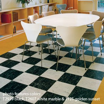 The Checked Marmoleum Floor I Like With White And Maple Furniture