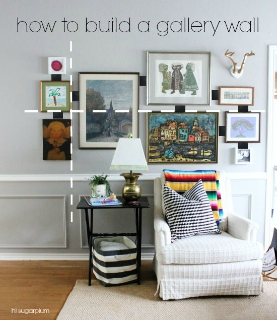 Need some help filling up a blank wall? Get started with this from Hi Sugarplum | How to Build a Gallery Wall