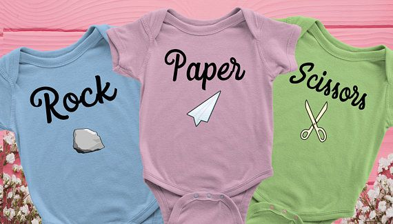 Funny Triplet Onesies with words 'Rock, Paper, Scissors'. Makes for a perfect and memorable triplet baby gifts for those new parents. This one piece baby onesie is perfect for your little ones and also makes an amazing Baby Shower gift.