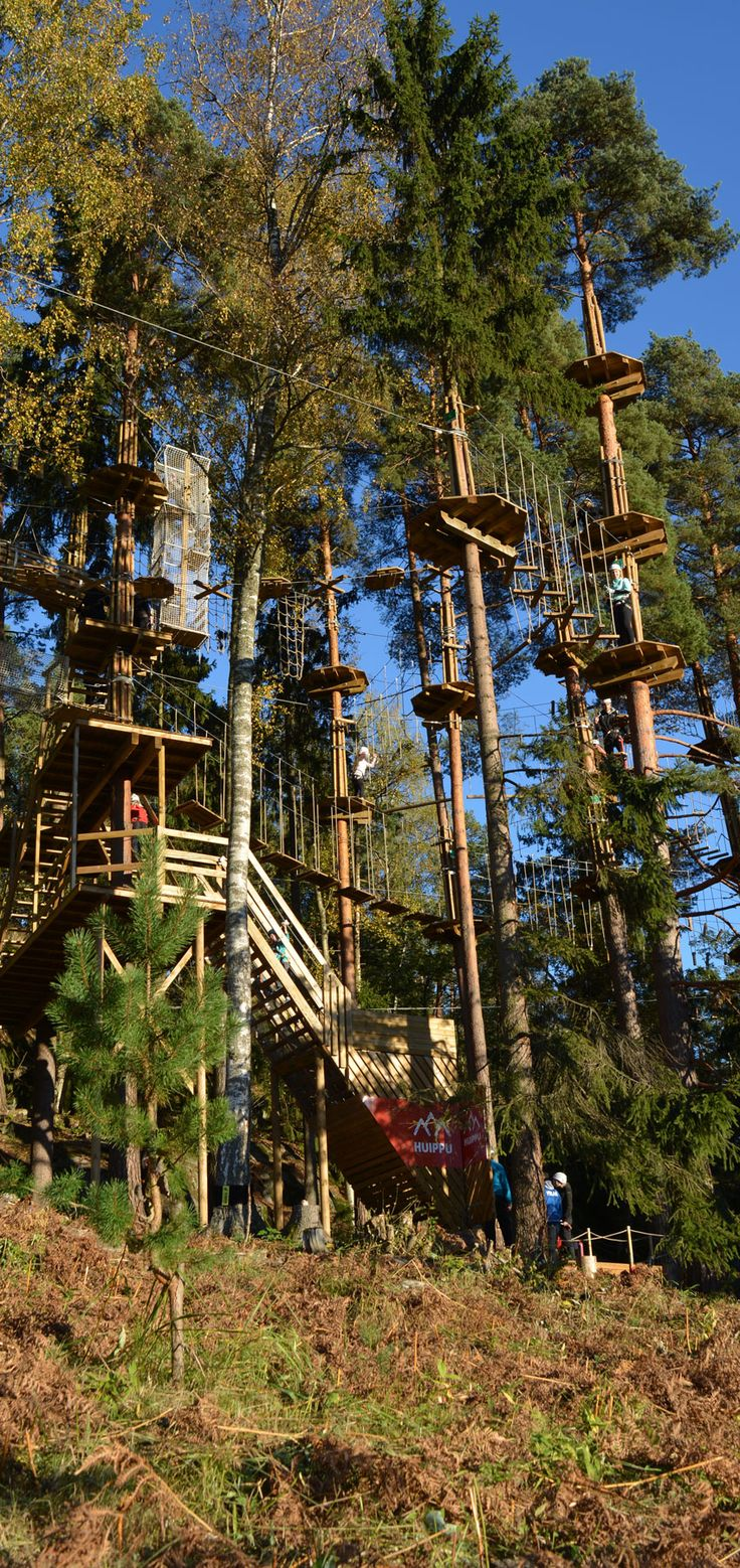 Seikkailupuisto Huipun alaratojen portilta noustaan portaita neljälle eri radalle. The stairs lead to four courses at different levels. #seikkailupuisto #treetopadventure #espoo #finland
