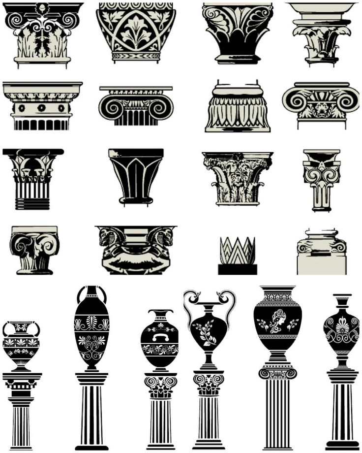 Column capitals vector. 3 sets with vector ancient column capitals and amphoras for your historical designs. Format: EPS stock vector clip art. Free for download. Theme: vector column capitals, vector architecture, greek amphoras.