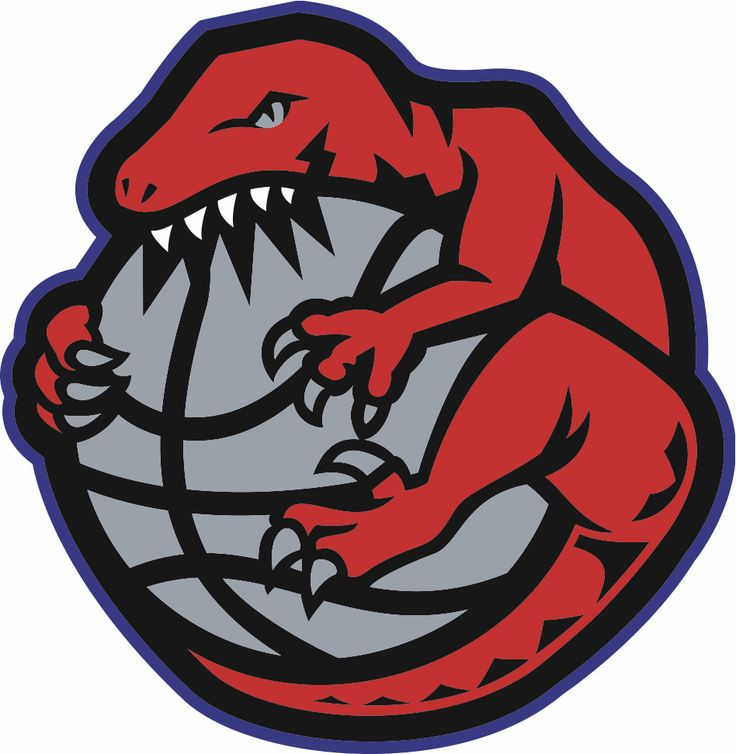 Toronto Raptors Alternate Logo (1996) - A Raptor wrapped around and chewing a basketball
