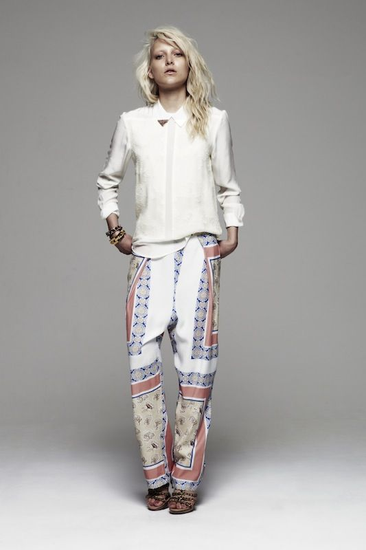 maurie & eve autumn 2012 I must say I fought the printed silk pant at first because only a specific body type and styling can make it not look like a pajama pant. But when it's done right...