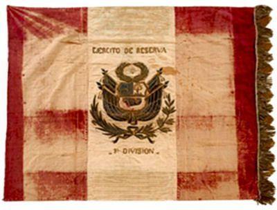 Estandarte del Ejército de Reserva 1° División capturado en la Guerra del Pacífico
