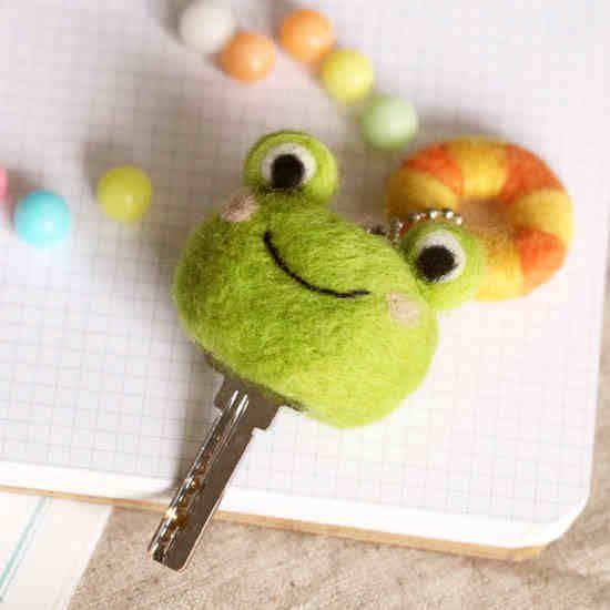 三朵 羊毛氈材料包戳戳樂手工DIY救生蛙鑰匙套羊毛氈-tmall.com天貓