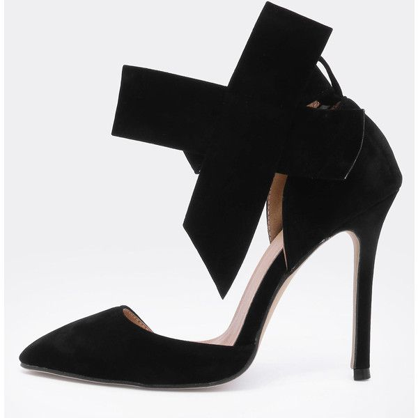 Black With Bow Slingbacks High Heeled Pumps (42 CAD) ❤ liked on Polyvore featuring shoes, pumps, black black, black shoes, black high heel shoes, bow pumps, stiletto pumps and high heel stilettos