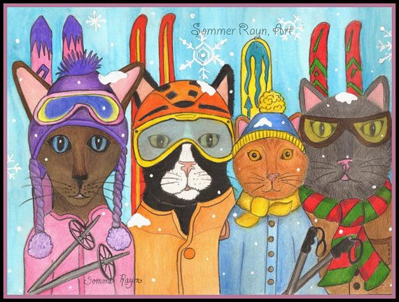 Snow Kitties skiing cats sunglasses with by SommerRaynJones